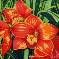 Красные орхидеи. Размер - 51 х 51 см.