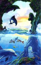Дельфины. Размер - 65 х 85 см.