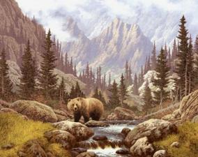 Медведь на воле. Размер - 50 х 39 см.