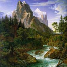 Река у подножья горы. Размер - 50 х 50 см.