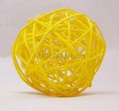 Ротанговый шар (жёлтый). Размер - 7 см.