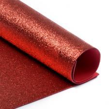 Глиттерный фоамиран (красный). Размер - 20 х 30 см.