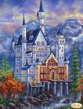 Замок Нойшванштайн осенью. Размер - 30 х 40 см.