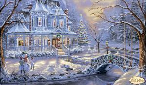 Викторианское рождество. Размер - 40 х 24 см.