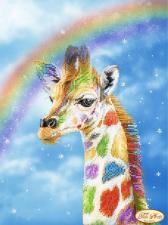 Радужный жираф. Размер - 24 х 32 см.