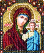 Икона Казанской Божией Матери. Размер - 9 х 11 см.