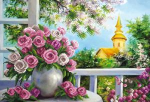 Розы на веранде. Размер - 39 х 27 см.