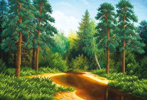 Лес у реки. Размер - 39 х 27 см.