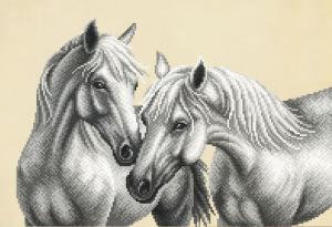 Белые лошади. Размер - 39 х 27 см.