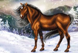 Конь на снегу. Размер - 39 х 27 см.