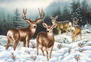 Семья оленей. Размер - 39 х 27 см.