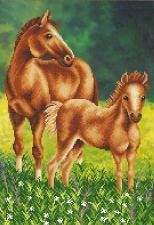 Лошадь с жеребёнком. Размер - 27 х 39 см.