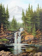 Камни и водопад. Размер - 30 х 40 см.