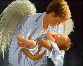 На руках у ангела. Размер - 40 х 30 см.