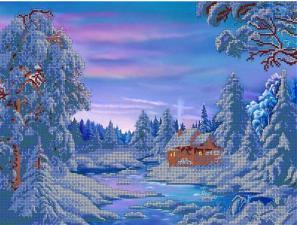 Зимний домик. Размер - 40 х 30 см.