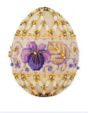 """Яйцо пасхальное """"Фиалки"""". Размер - 6 х 4,5 см."""