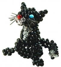 Чёрный котик. Размер - 5 х 4,5 см.