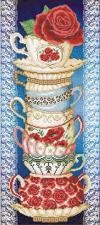 Чашки с розой (на синем).