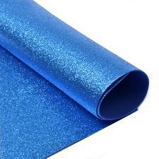 Глиттерный фоамиран (синий). Размер - 20 х 30 см.