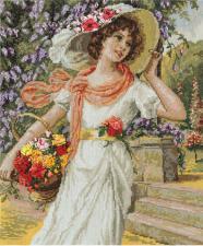 Девушка с корзиной цветов. Размер - 28,5 х 34 см.
