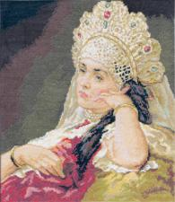 Девушка в жемчужном ожерелье. Размер - 32 х 36,5 см.