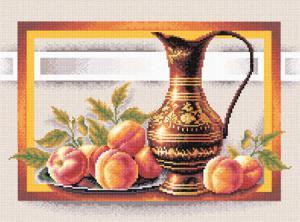 Натюрморт с персиками. Размер - 24.5х38 см