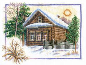 Зима в деревне. Размер - 25 х 20 см.