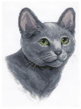 Русская голубая кошка. Размер - 17 х 20 см.