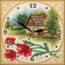 Часы.Домик. Размер - 22,5 х 22,5 см.