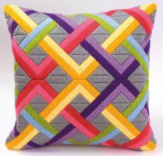 Цветные диагонали на сером. Размер - 40 х 40 см.