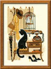 Кошка с телефоном. Размер - 18 х 24 см.