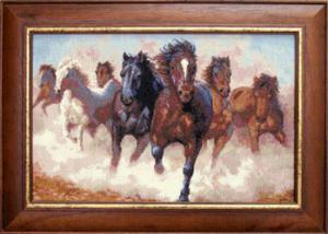 Лошади. Размер - 38,5 х 24,5 см.