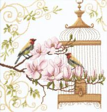 Пение птиц. Размер - 25 х 26 см.