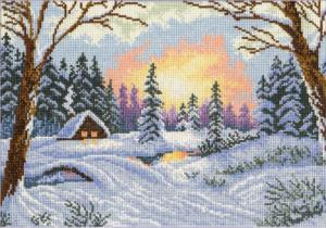 Зимний закат. Размер - 31 х 23 см.