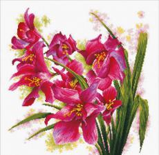 Лиловые орхидеи. Размер - 40 х 40 см.
