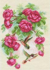 Розы и колибри. Размер - 28 х 39 см.