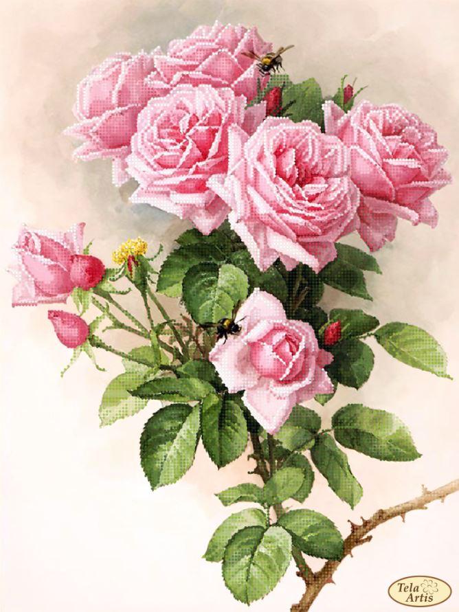 Принт для вышивки лентами розы 912