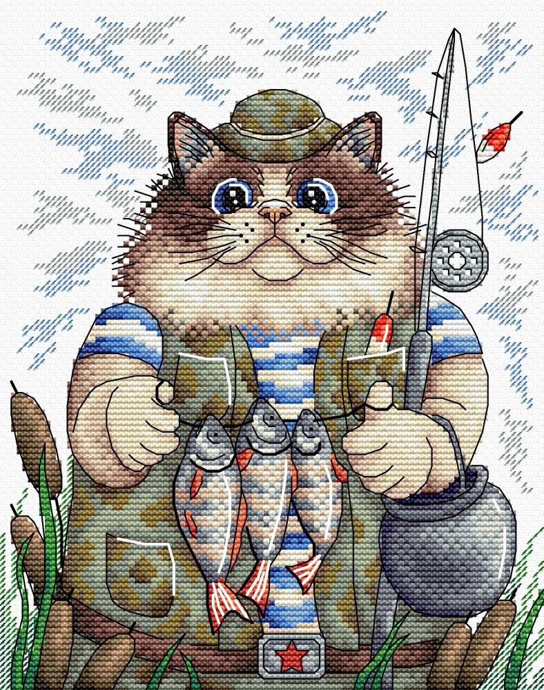 47Вышивка кота рыбалка