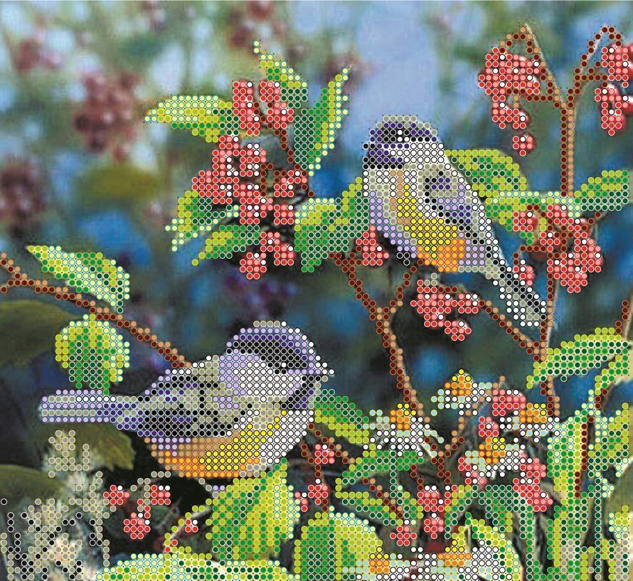 Вышивка бисером птички в лесу 67