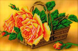 Розы в корзине. Размер - 27 х 18 см.
