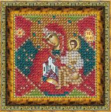 """Икона Божьей Матери """"Неопалимая Купина""""(с акрил. рамкой). Размер - 6,5 х 6,5 см."""