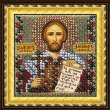 Икона Св.Блг.Вл.Кн.Александр Невский (с акрил.рамкой). Размер - 6,5 х 6,5 см.