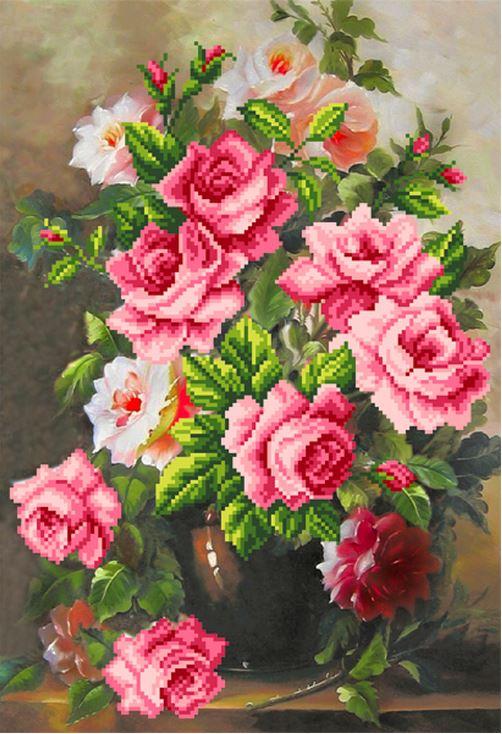 Вышивка розовая элегия 18