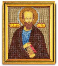 """Икона из ювелирного бисера """"Св.Апостол Павел"""". Размер - 12 х 14,5 см."""