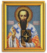 """Икона из ювелирного бисера """"Св.Василий Великий"""". Размер - 12 х 14,5 см."""