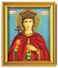 "Икона из ювелирного бисера ""Св.Екатерина"". Размер - 12 х 14,5 см."