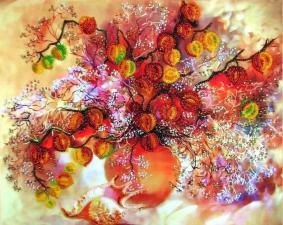 Осенние фонарики. Размер - 32 х 25 см.