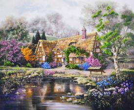 Дом с лилиями. Размер - 40 х 33 см.
