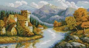 Замок у гор. Размер - 70 х 38 см.