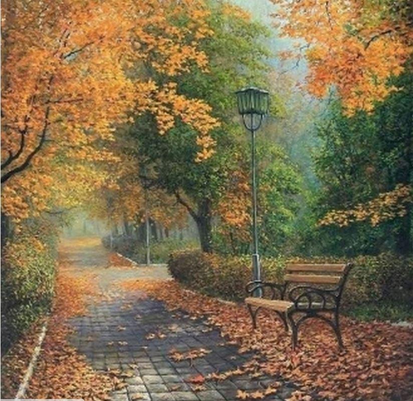 Живопись осень в городе